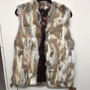 Love Token Real Rabbit Fur Vest-Small NWT